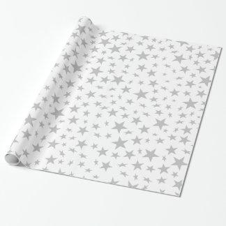 Silver Gray Stars Print Pattern