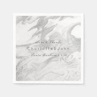 Silver Gray Stone Carrara White Gray Marble Party Disposable Napkin