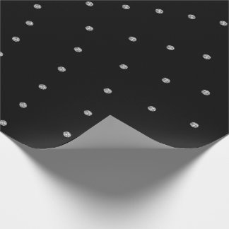 Silver  Gray Swarovski Crystals Black Dots Gemmes Wrapping Paper