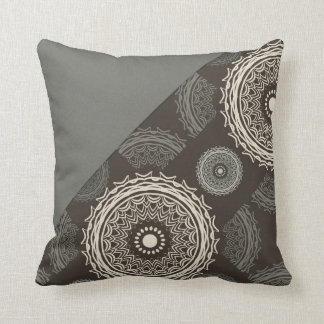 Silver Gray Taupe Circles Abstract Throw Pillow