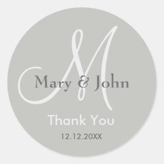Silver Gray Thank You Wedding Monogram Seal Round Sticker