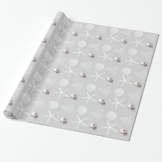 Silver Gray Tropical Christmas Wrapping Paper