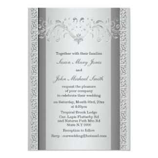 Silver gray wedding engagement anniversary card