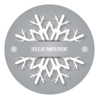 Silver Gray + White Christmas Snowflake Invitation