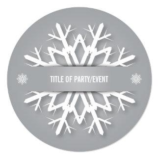 Silver Gray + White Christmas Snowflake Invitation