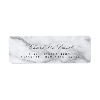 Silver Gray White Marble Return Address Labels