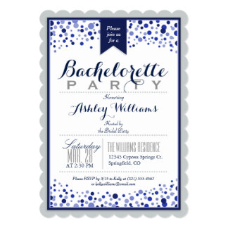 Silver Gray, White, Navy Blue Bachelorette Party 13 Cm X 18 Cm Invitation Card