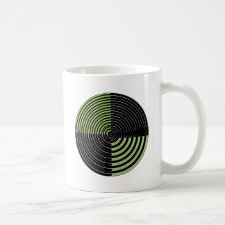 Silver Green and Black Circular Maze Pattern Coffee Mug