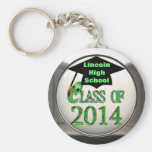Silver & Green Class Of 2014 Keychain