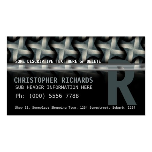 Silver Green Fan Spiral Pattern Business Cards