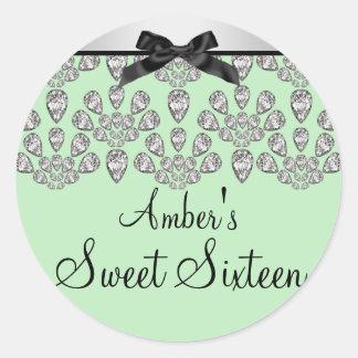 Silver & Green Forever Diamonds Sweet 16 Sticker