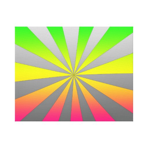 Silver Green Pink burst Stretched Canvas Print