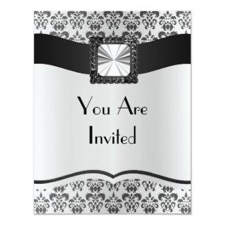 Silver grey & black damask 11 cm x 14 cm invitation card