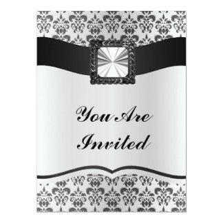 Silver grey & black damask personalized announcements