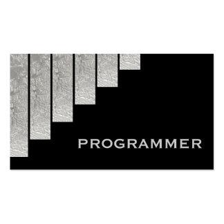 Silver grey, black vertical stripes programmer business card template