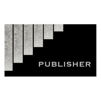 Silver grey black vertical stripes publisher business card templates