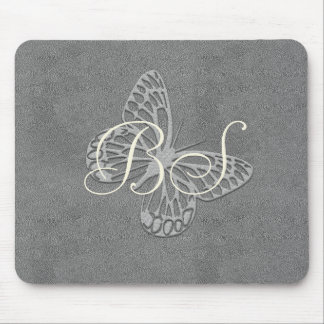 Silver Grey Butterfly Add Initials Mousepad