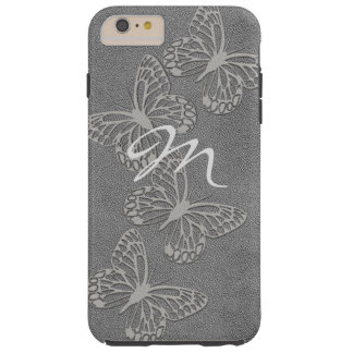Silver Grey Butterfly Leather Look Monogrammed Tough iPhone 6 Plus Case
