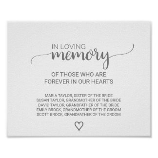 Silver Grey Calligraphy In Loving Memory Sign Poster