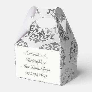 Silver grey damask pattern wedding favour box