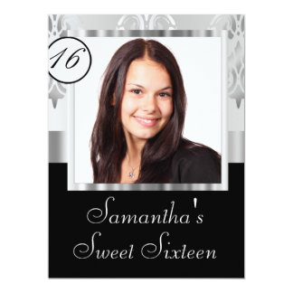 Silver grey damask sweet sixteen 17 cm x 22 cm invitation card