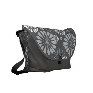 Silver Grey Floral Courier Bag