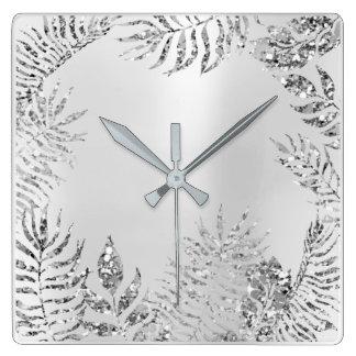 Silver Grey Floral Palm Monochrom Metallic Glitter Square Wall Clock