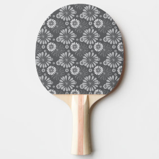 Silver Grey Floral Ping Pong Paddle