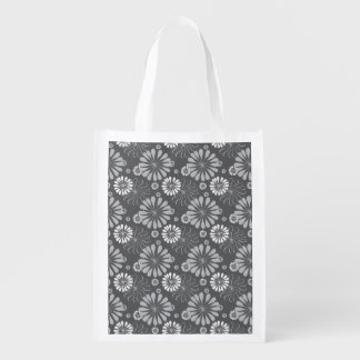 Silver Grey Floral Reusable Grocery Bag