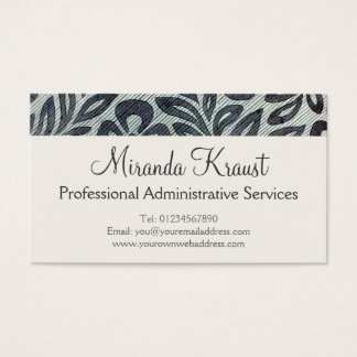 Silver Grey Flower Textile Pattern Business Card