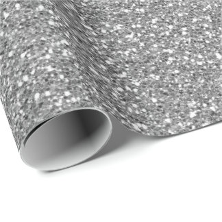 Silver Grey Glam Glitter Sparkly Minimal Delicate Wrapping Paper