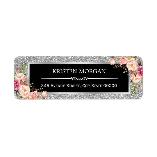Silver Grey Glitter Sparkles Classy Pink Floral Return Address Label