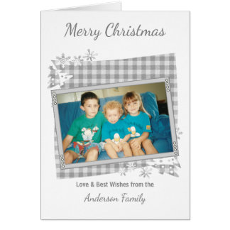 Silver grey Merry Christmas photo Card
