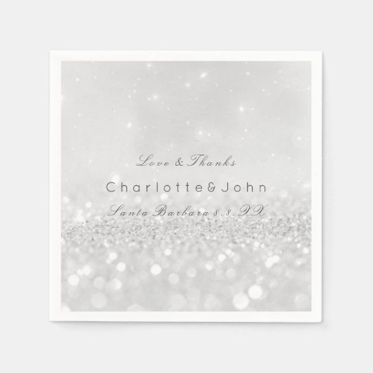 Silver Grey Minimal White Sparkly Glitter Custom Disposable Serviette