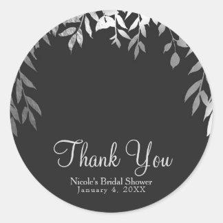 Silver & Grey Modern Glam Botanical Leaves Wedding Classic Round Sticker