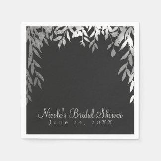 Silver & Grey Modern Glam Botanical Leaves Wedding Paper Napkin