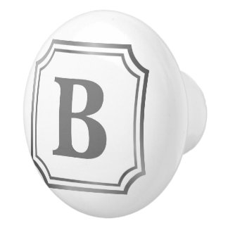 Silver Grey Monogram in Silver Border Ceramic Knob