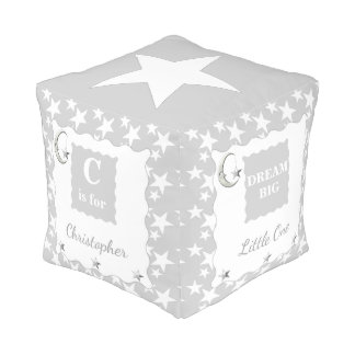 Silver / grey moon and stars pouf Dream Big