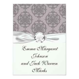 silver grey ornate damask pattern custom announcement