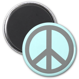 Silver Grey Peace Symbol Products 6 Cm Round Magnet