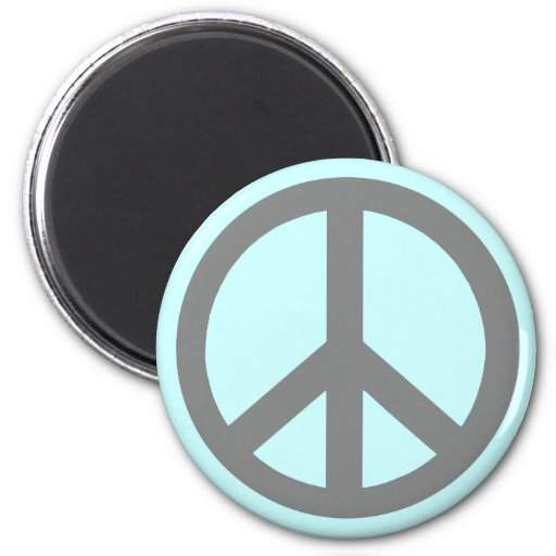 Silver Grey Peace Symbol Products Fridge Magnet