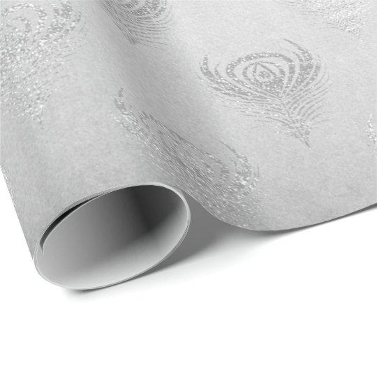 Silver Grey Peacock Metallic Shiny Monochromatic