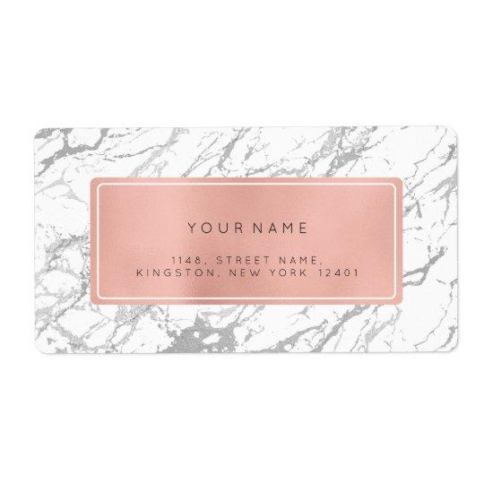 Silver Grey Pink Rose Marble Return Address Labels