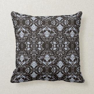 Silver grey scroll Black Ornate throw pillow