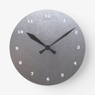 SILVER Grey Sparkle : Leather Look Finish Round Clock