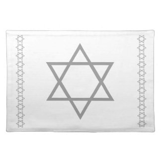 silver grey STAR OF DAVID  white placemats