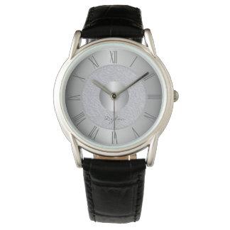 Silver grey steel watch