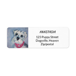 SILVER GREY SWEET SCHNAUZER RETURN ADDRESS LABEL