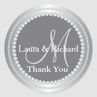Silver Grey Wedding Favour Thank You Monogram Classic Round Sticker
