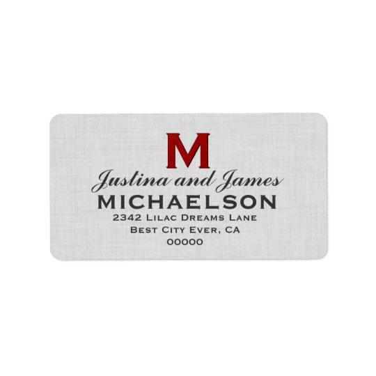 Silver Grey Wedding Monogram M Template V01 Address Label